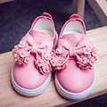 Children Shoes Fashion Spring Autumn Girl Casual Leather Shoes Flat Heels Bowtie Flowers Pearls Candy Color Princess Single Shoe