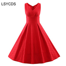 2018 Ladies Red Lace Dress V Neck Sleeveless Floral Print 50s 60s Slim Big Swing Vintage Retro Casual Party Robe Women Dresses