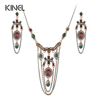 Luxury 2Pcs Vintage Jewelry Sets Turkey Tassel Necklace And Crystal Earring For Women Fashion Plating Gold