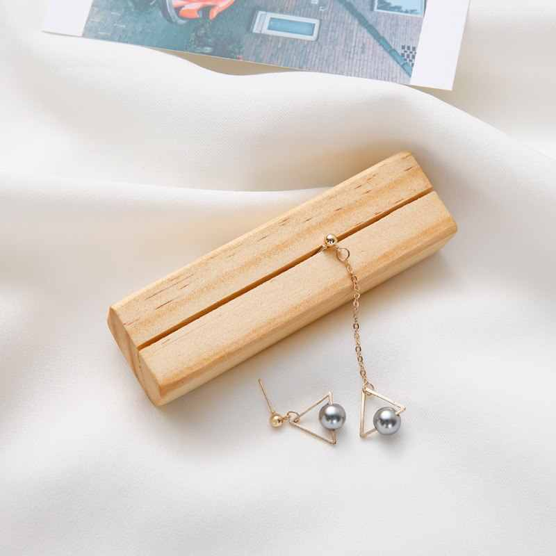 New Trendy Fashion Asymmetric Long Chain Simulated Gray Pearl Geometric Triangle Drop Earrings For Women Jewelry Wholesale