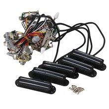 Yibuy 5 x Electric Guitar Circuit Wiring Harness Twin-Coil Pickup&3way Switch Set
