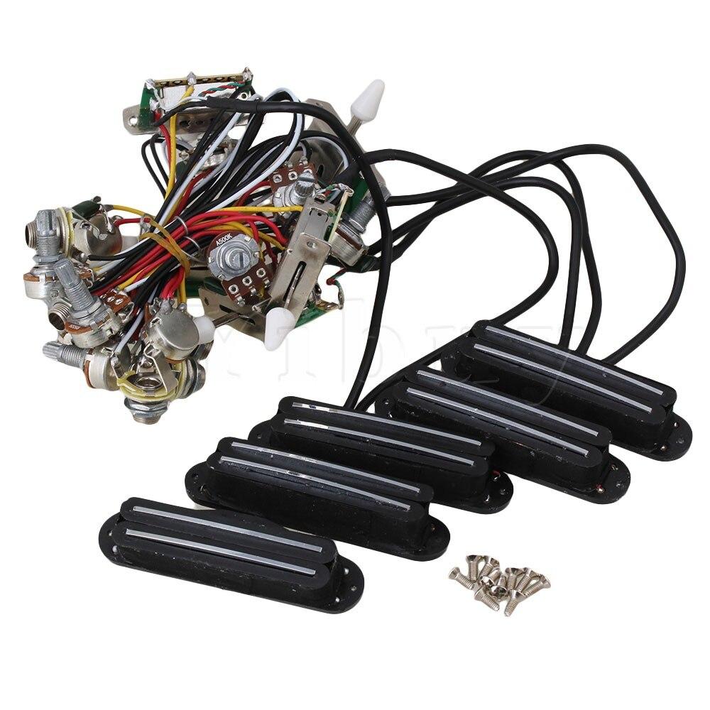 Yibuy 5 x faisceau de câblage de Circuit de guitare électrique à deux bobines et ensemble de commutateurs 3way