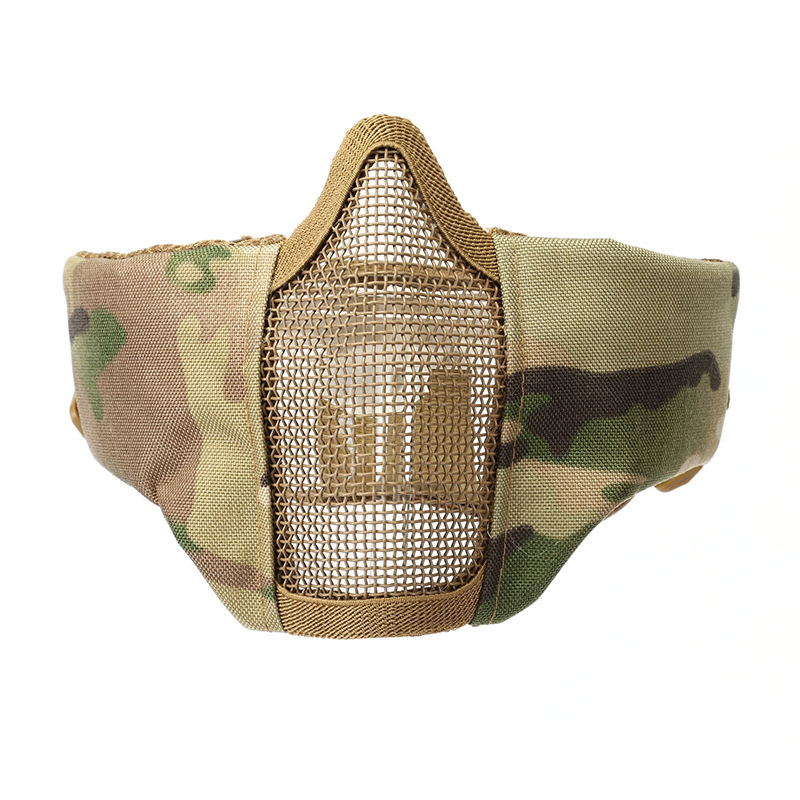 Airsoft Tactical Half Face Protective Mask Mesh Lower Face Mask For Paintball CS With Adjustable And Elastic Belt Strap