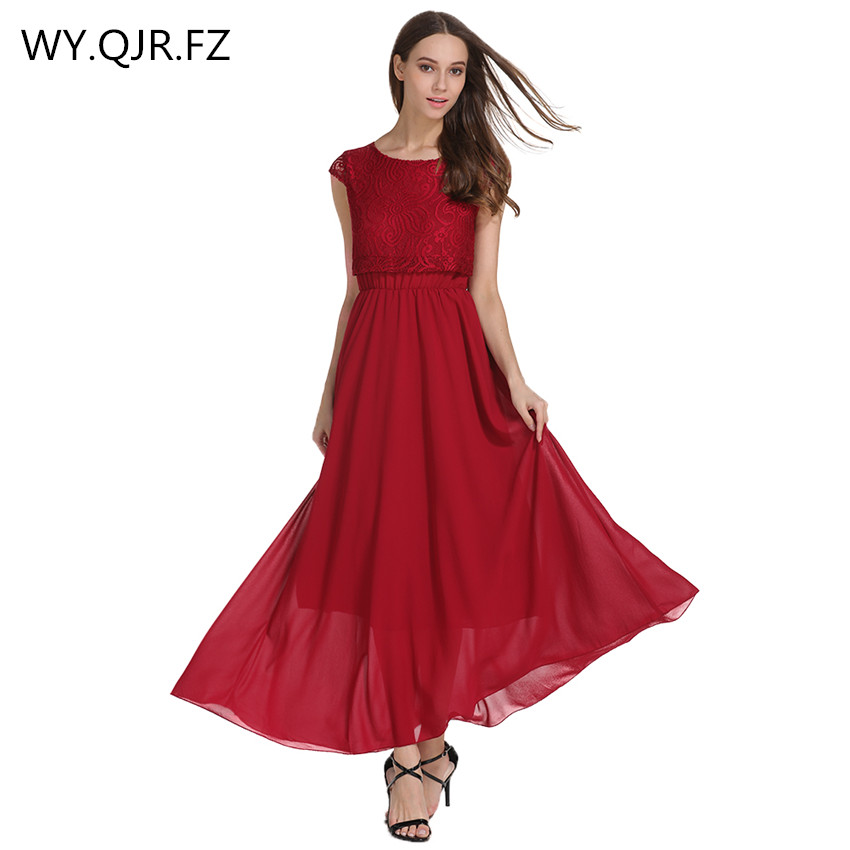JCYL603#Chiffon + Lace wine red long   Evening     Dresses   A-Line party   dress   gown prom wholesale cheap fashion women's clothing 2019