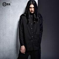 Модные оригинальный дизайн темно линии Нерегулярные низкий качели с кофта с длинными рукавами весной длинная рубашка для мужчин