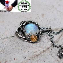 OMHXZJ Wholesale European Fashion Woman Girl Party Wedding Gift Tree Rose Moonstone 925 Sterling Silver Pendant Necklace NA03(China)