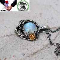 OMHXZJ Wholesale European Fashion Woman Girl Party Wedding Gift Tree Rose Moonstone 925 Sterling Silver Pendant Necklace NA03