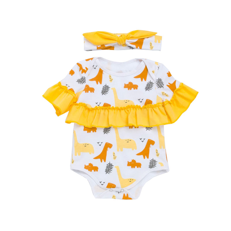 Yellow Cute Animal Party Baby Girl Clothes Ruched Short Sleeve Ropa De Bebes Body For Baby Outfits Headband 2pcs Sets new born baby girl party clothing sets 1st birthday outfits baby body as gift bodysuit tutu bloomers headband 3pcs clothes set