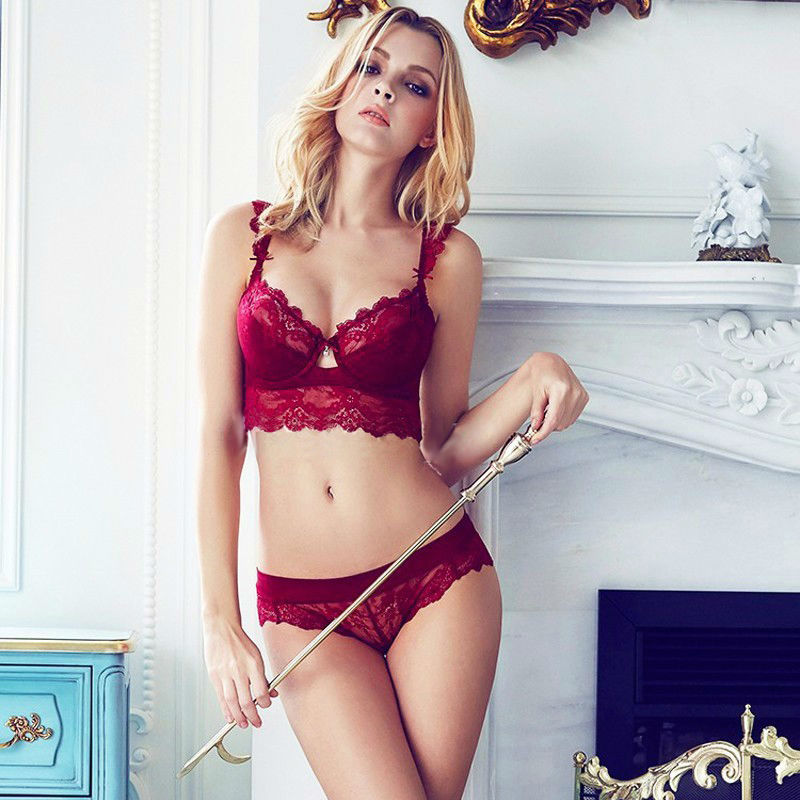 Sexy Mousse Women Sexy Bra Set Ultra-thin Red Black Lace Bras Underwear Plus size Push up Bra and Panties Set Cup A B C D 3