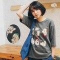 Enano de impresión de dibujos animados lindo flojo media manga de la camiseta de las mujeres