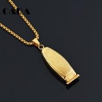 CARA Neue Gold Farbe edelstahl barber haar rasierer anhänger halskette stilvolle herren halskette zubehör großhandel CAGF0358