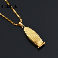 CARA New Gold Color Stainless Steel Barber Hair Shaver Pendant Necklace Stylish Mens Necklace Accessory Wholesale