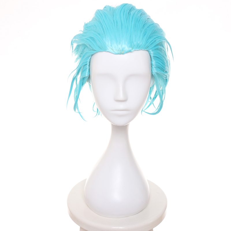 The Seven Deadly Sins Anime Cosplay Wigs Ban Male Short Hair Wig (Ice Blue)  + Wig Cap