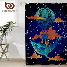 BeddingOutlet Blue Whale Bathroom Shower Curtain Cartoon Boho Waterproof Bath With Hooks For Kids Cortina De Ducha