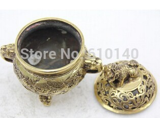 Oriental Small Incense Burner Bronze Statue Sculpture Collectible Collection T100