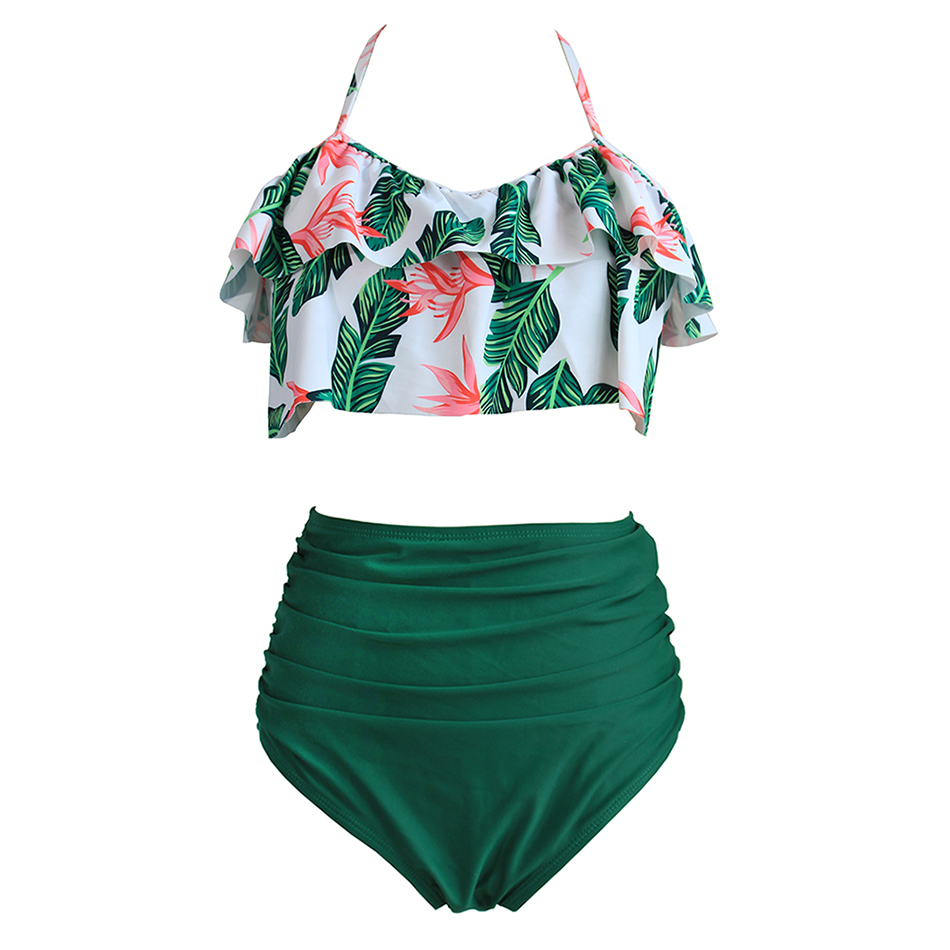 High Waist Bikini Sexy 3XL Female Swimsuit 2018 Plus Size Swimwear Women Brazilian Push Up Bikinis Set Swimming for Bathing Suit summer sexy swimsuit vintage high waist bikini retro push up swimwear women plus size bathing suit printed floral bikinis set