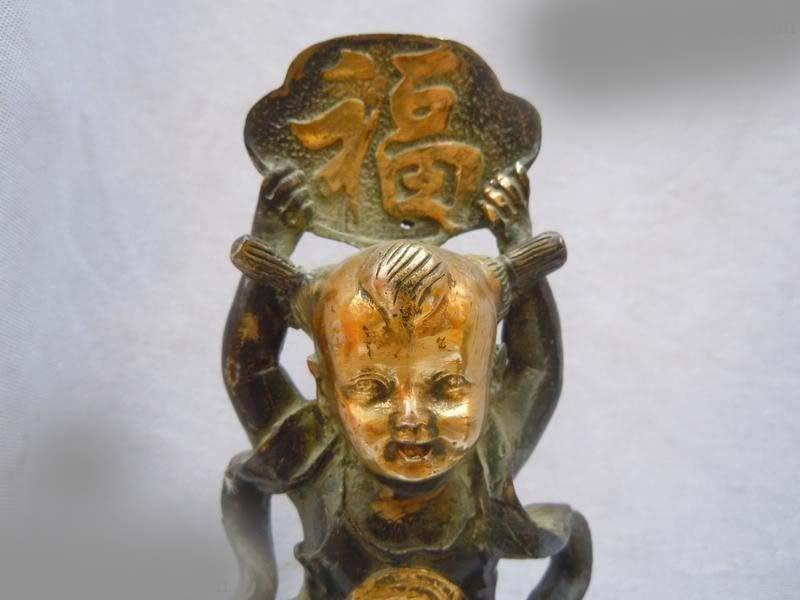 DS China copper bronze gild carved boy on longevity peach Sculpture Statue
