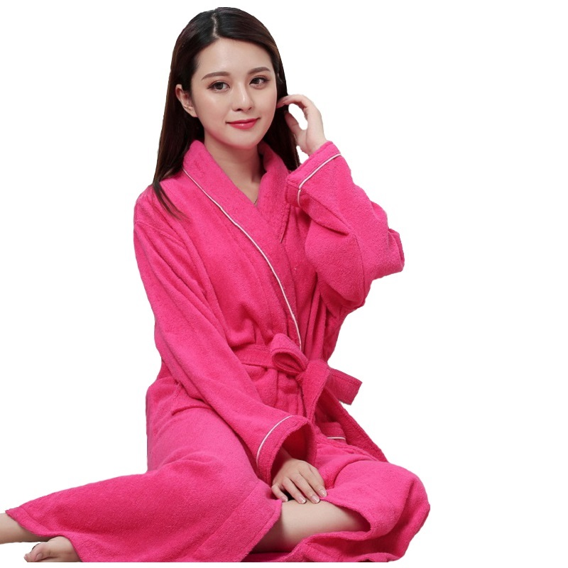 Women Men Cotton Terry BathRobes All Seasons Couple Robe Hotel Bathrobe Soft Breathable Absorbent Sleepwear Night-gown Hombre