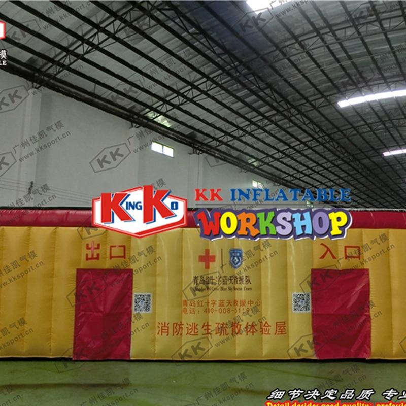 Fumée simulée room escape tente, Enfants feu l'éducation tunnel imitation chambre gonflable feu tente