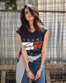 Verano 2016 nueva Casual de color azul oscuro de la Camiseta Mujeres Tops Punk Rock Nirvana Impresión de la Letra de Manga Corta Camiseta Del O-cuello Camiseta Femme