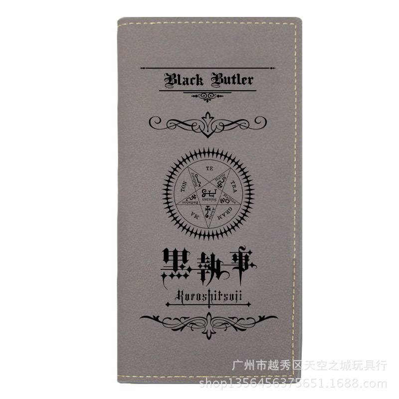 New Anime Black Butler Long Wallets Cosplay kuroshitsuji Men Leather PU Wallet Bifold Purse Student Boys Girls Wallets Gift new fashion style cartoon wallet one piece hokage ninjia black butler pu purse men wallets one punch man anime kids hasp wallet