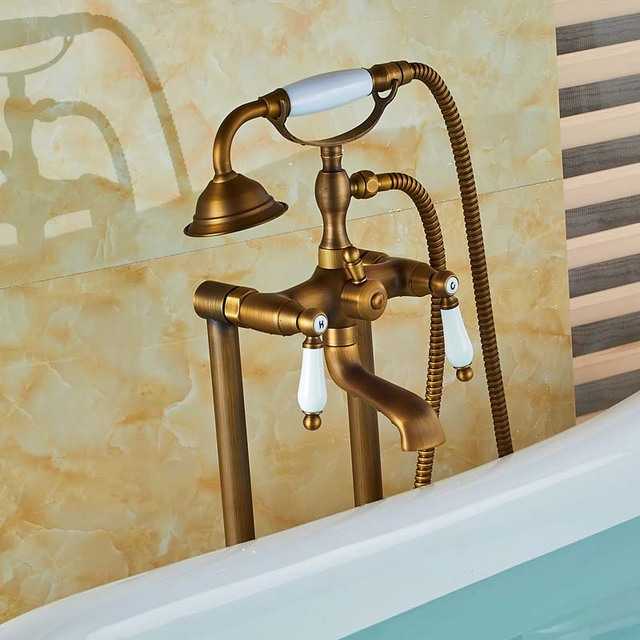 Dual Ceramic Handle Bathtub Faucet Free Standing Bathroom Tub Sink Faucet Floor Mounted Clawfoot Bath Shower Set with Handshower
