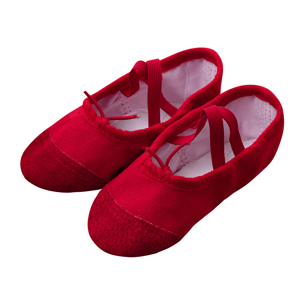 Sneaker Shoes Soft-Soled Canvas Girl Kids Ballet Lace-Up for Gymnastics Fitness Fitness