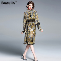 Banulin Designer Runway Classical Dress 2019 Spring Women Flare sleeve Leopard Print Lace Up Pleated Slim Vintage Dress Vestidos