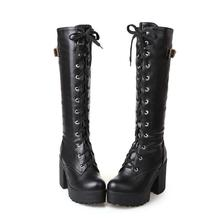 Knee High Boots High Heel Leather Women Winter Boots Fashion Round Toe Cosplay Platform Women Shoes Lace Up Warm Boots Size34-43 women genuine leather side zipper comfortable square heel knee high boots fashion round toe keep warm winter shoes b