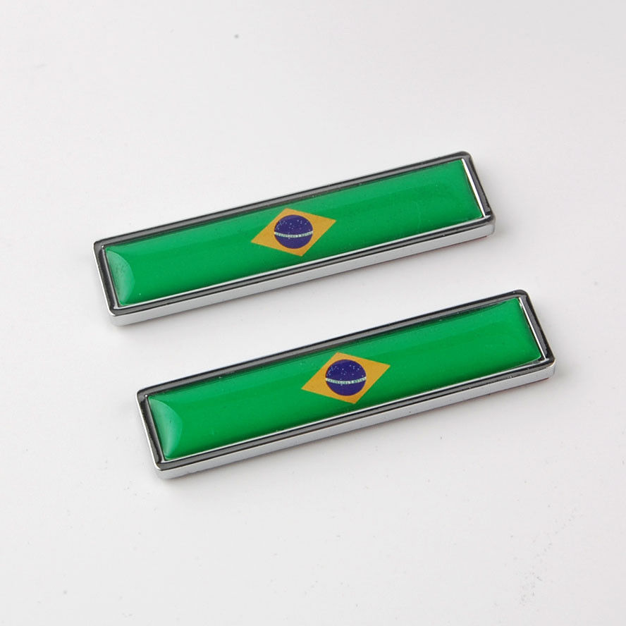 BBQ@FUKA 2pcs Brazil Flag Emblem Badge Decal Sticker Car Styling Accessories Fit For Fiat VW Polo Fox Ford Kia Corolla bbq fuka 2pcs car aluminum abs silver luggage carrier top roof rack cross bars fit for compass 2017 car styling car accessories