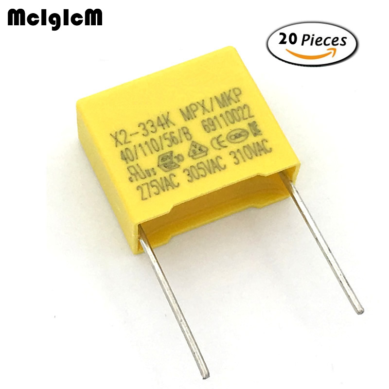 MCIGICM 20pcs 330nF Capacitor X2 Capacitor 275VAC Pitch 15mm X2 Polypropylene Film Capacitor 0.33uF