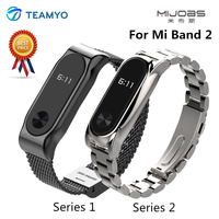 Mijobs Metal Replacement Wrist Strap For Xiaomi Mi Band 2 Screwless Stainless Steel Bracelet Smart Band