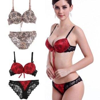 a72937a57 Ht Mulheres Sexy Empurrar Para Cima Do Laço Conjunto de Sutiã Cuecas  Bowknot Floral Bra + Ver Através Briefs Underwear Sexy Lingerie G3