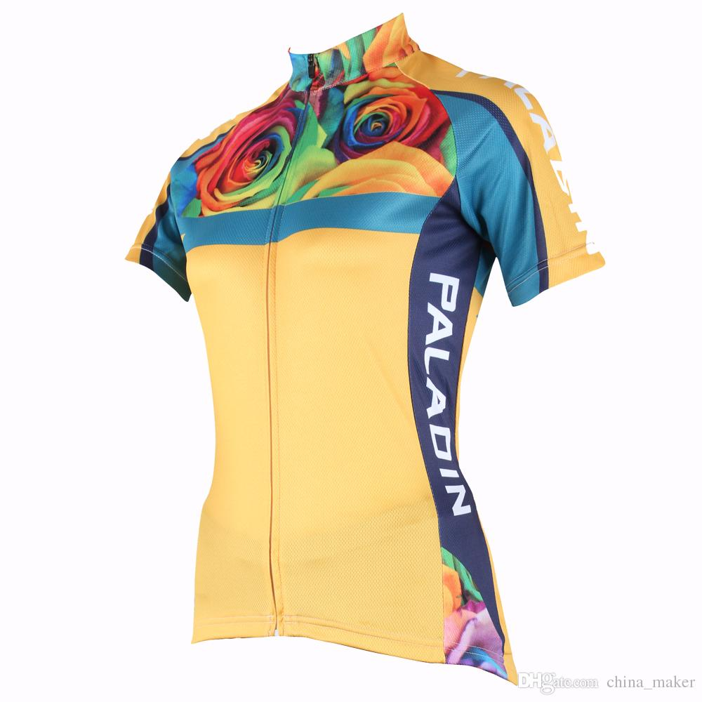 176 Hot cycling jerseys Colorful Rose Summer Cycling Jersey 2017s Ladies Yellow adequate quality Sleeve Cycle Jerseys Healthy cy 176 top quality hot cycling jerseys red lotus summer cycling jersey 2017s anti uv female adequate quality sleeve cycling clothin