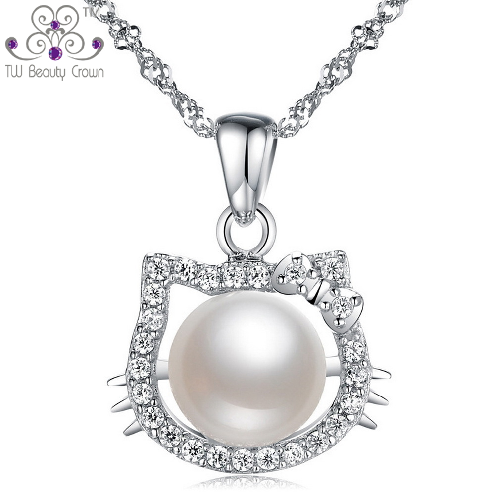 23e8f59ee Real 925 Pure Silver White Crystal CZ Natural Freshwater Pearl Hello Kitty  Cat Face Pendant Necklaces For Women Girls Duaghter