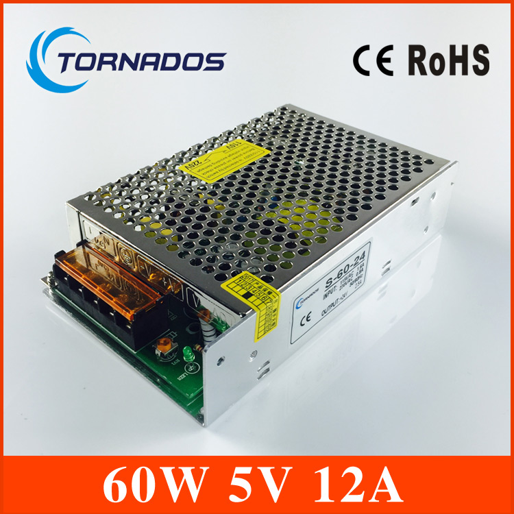 12A 5V 60W LED Switching Power Supply Transformer AC 110V 220V to 5V DC output, for LED Strip light for CCTV (s-60-5)