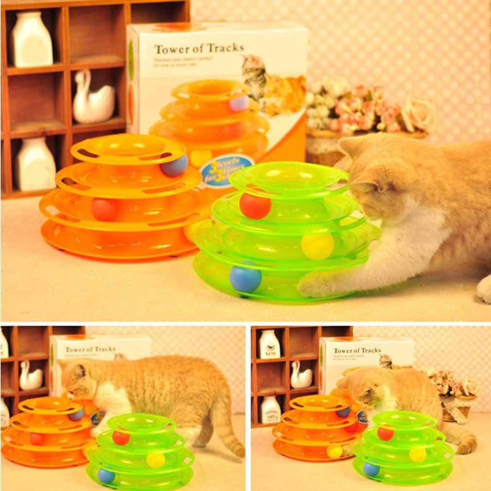 Torre de pistas pelota y pista juguete interactivo gatos diversión juego de gato inteligencia Triple Play Disc gato para pelotas de juguete