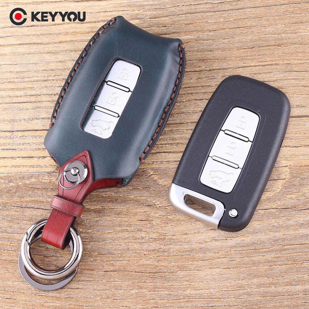 KEYYOU Véritable En Cuir Shell Principal À Distance Couvre Pour Kia K5 Sportage Pour Hyundai I30 Ix35 Equus Genèse Velo 3 Boutons clé de voiture Cas