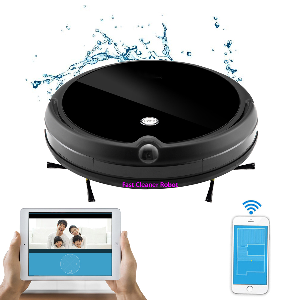 2019 NEWEST Wet And Dry WIFI APP Robot Vacuum Cleaner Camera Monitor,Map Navigation,Smart Memory,Video Call,350ML Water Tank image