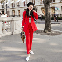 New arrival women professional temperament fashion thick warm solid suit work style slim pant comfortable simple red pant suits