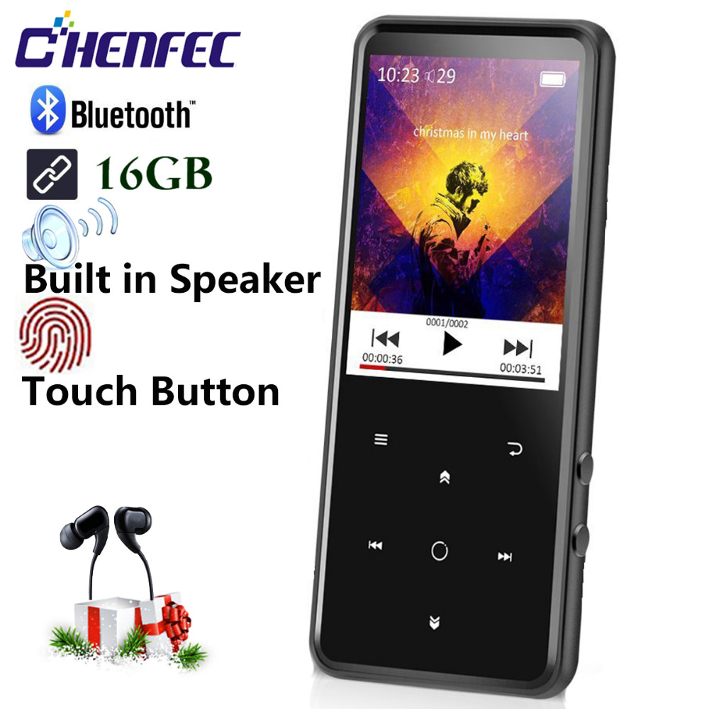MP3 Player with Bluetooth touch button 16G Speaker metal hifi music player with fm radio eBook hi fi walkman support usb,mini SD