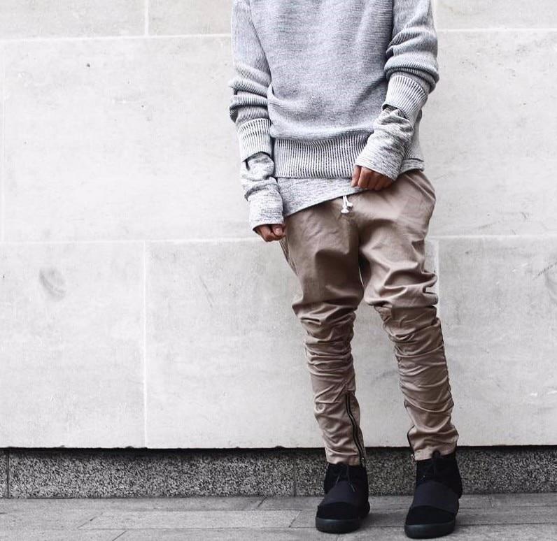 HZIJUE cremallera lateral hombres slim fit casual para hombre hip hop jogger biker pantalones swag pantalón pantalones flacos haz de pie pantalones