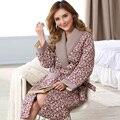 Bata hogar de mujer rusia invierno de manga larga chaqueta de punto de algodón carpeta gruesa de algodón albornoces del traje femenino acolchado pijamas