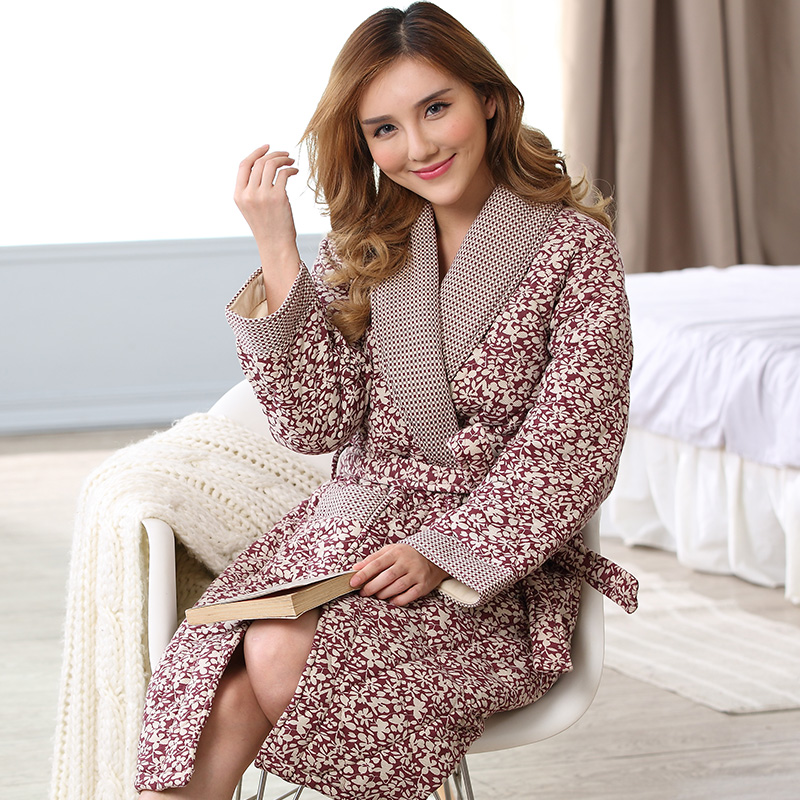 e5d6d6d09b Detail Feedback Questions about Peignoir home women robe Russia Winter long  sleeved knit cotton jacket folder thick cotton bathrobes female robe quilted  ...