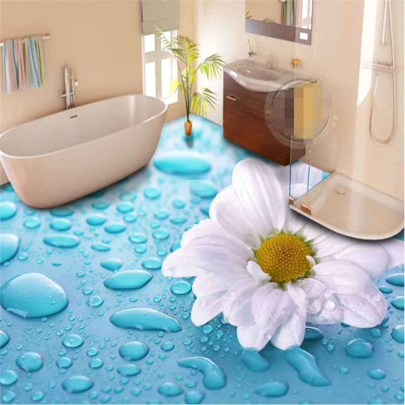 Custom Photo 3D Wearable PVC Floor 3D Water Drop Flooring Flower Daisy Tile  Floor Floor Painting