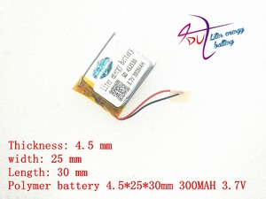 Image 2 - 3.7v lithium polymer battery 452530 300MAH MP3 MP4 Bluetooth battery clip with protection board