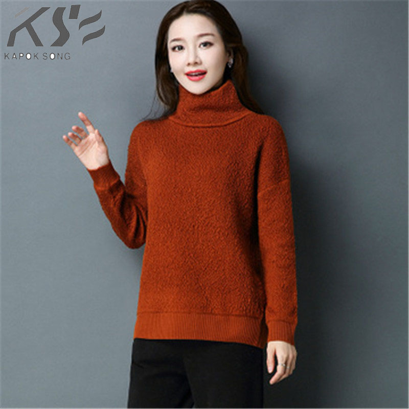 2018 Autumn winter new women s sweater sweater pure color high collar loose trim short pure