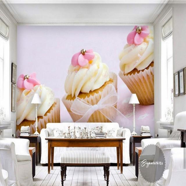 Foto behang Mooie gele bloem chocolade taart woonkamer slaapkamer ...