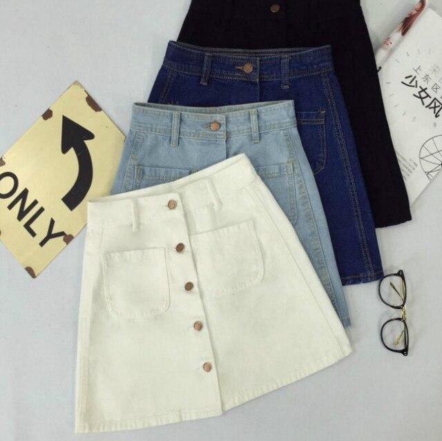 30ce62bc4e Nuevo verano de las mujeres líneas reducido jeans falda botones en frente  alta cintura denim pequeños