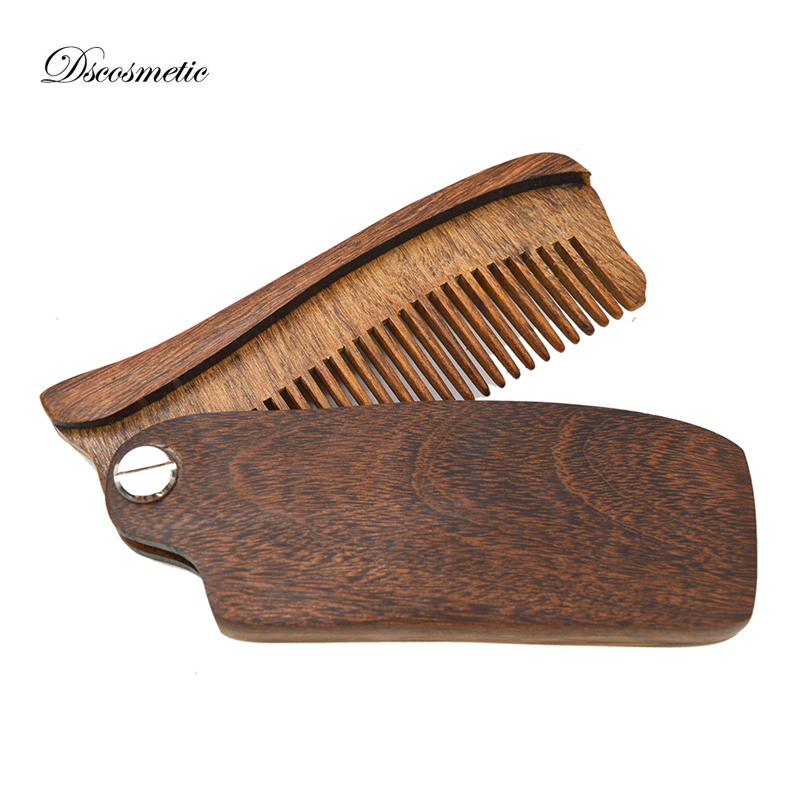 US $8 0 |Dscosmetic new natrual sandalwood wide teeth folding beard Comb  pocket size wooden comb for woman and man hair stlying -in Shaving Brush  from